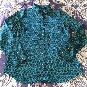 The Limited Abstract Button Down Blouse Navy Green